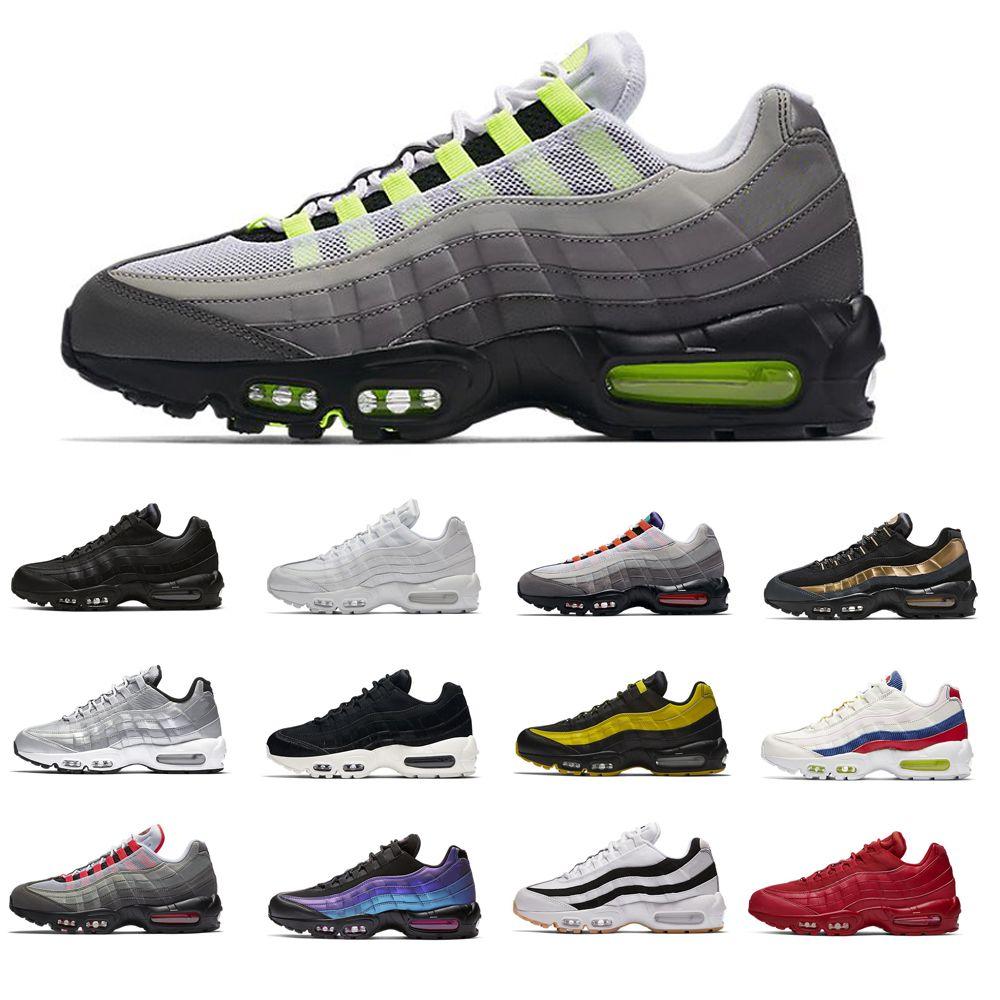 2021 chaussures 95 رجل الاحذية الكلاسيكية الأسود الأحمر الأبيض الرياضة المدرب سطيف وسادة تنفس 95s الرجال أحذية 40-46