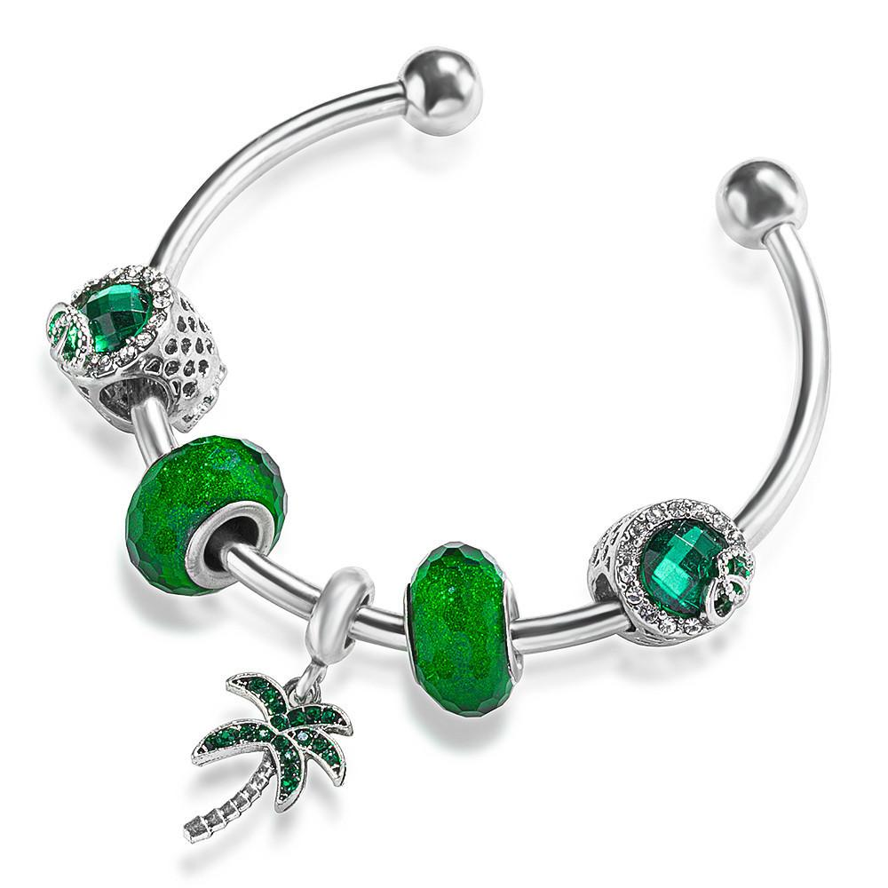TKTK 2021 New Charm Openable Resizable Wristband Bracelet with Snowflake Rainbow Coconut Tree Pendant for Women Fashion European Style Jewelry
