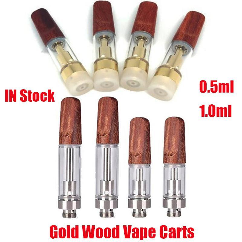 Gold Wood Carts Vapes Atomizer Dabwoods 0.5ml 1.0ml TH205 Ceramic Coil FLAT Drip Tip 510 Thick Oil Cartridges Vape Tank For Preheat Battery