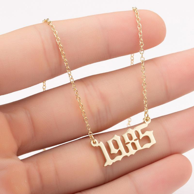 Personalized stainless steel vintage 1980-2021 necklace female minority birthday digital pendant fashion accessories wholesale