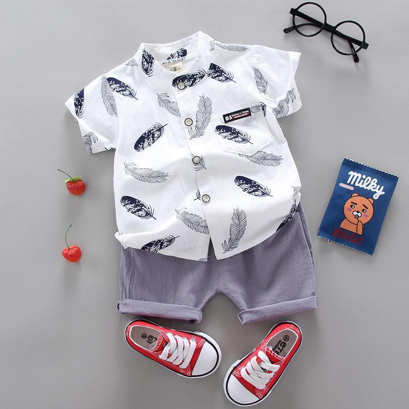 아기 어린이 의류 여름 소년들의 반팔 티셔츠 캐주얼 스탠드 업 칼라 2 피스 세트
