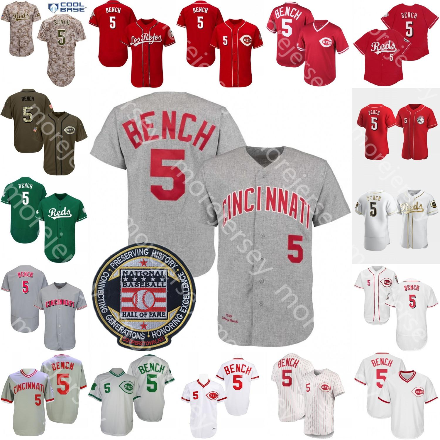 Johnny Bench Jersey Hall of Fame Patch 1969 1976 Blanc Grey Cooperstown Gris Red White Pinstripe Player Voyants Salut au service Blanc Golden Green Camo Taille S-3XL