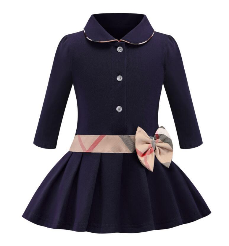 أطفال فتاة التلبيب طوق bowknot كم طويل اللباس مطوي طفل أنيق الخريف الطفل الأطفال مصمم الملابس