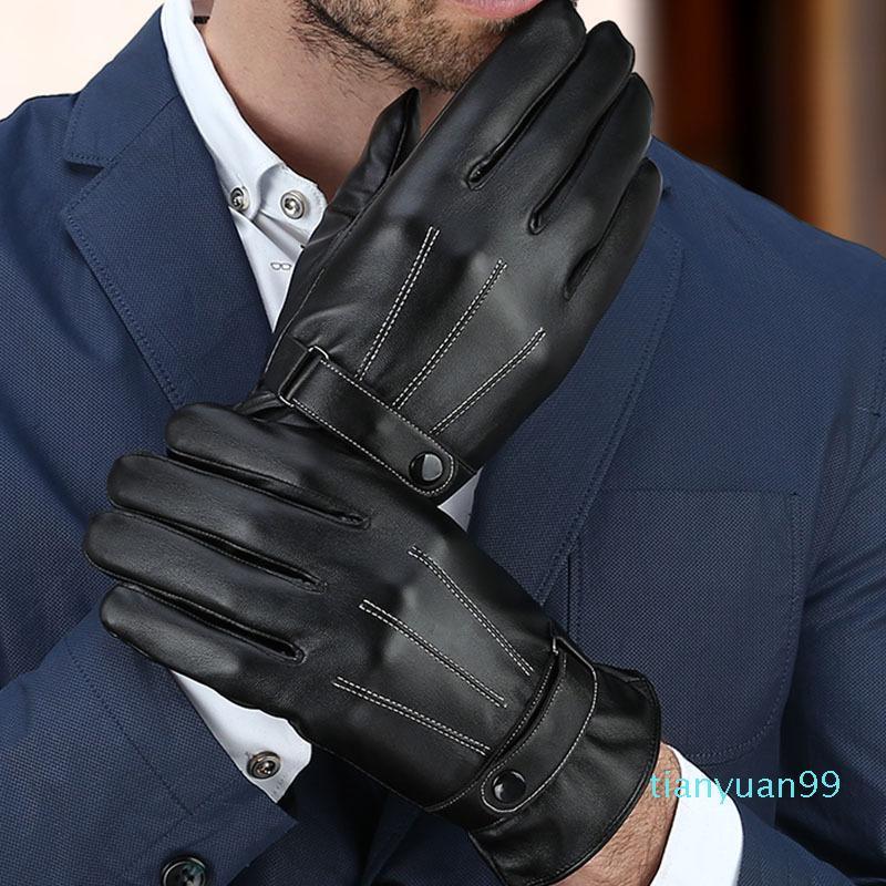 2020 homens de negócios populares e tela das mulheres toque preto luvas de couro marrom preto luvas mornas para o presente