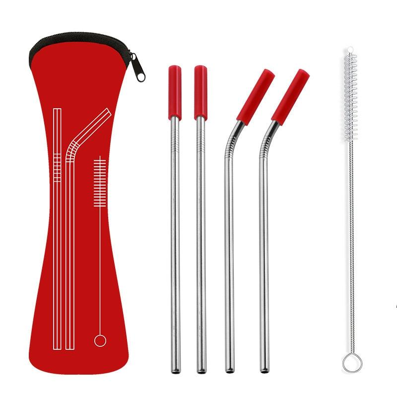 6Pcs/set Reusable Stainless Steel Straight Bent Drinking Straws with Silicone Tips for Hot Cold Beverage Drink Bar Tools ZZA7336