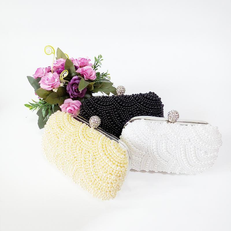Akşam Çanta Kadın Kılıfı Moda Kozmetik El Yapımı Çanta Balo Hediye Parti Muhteşem Debriyaj Çanta Düğün Yapay Inci Boncuklu Purses1 T72J