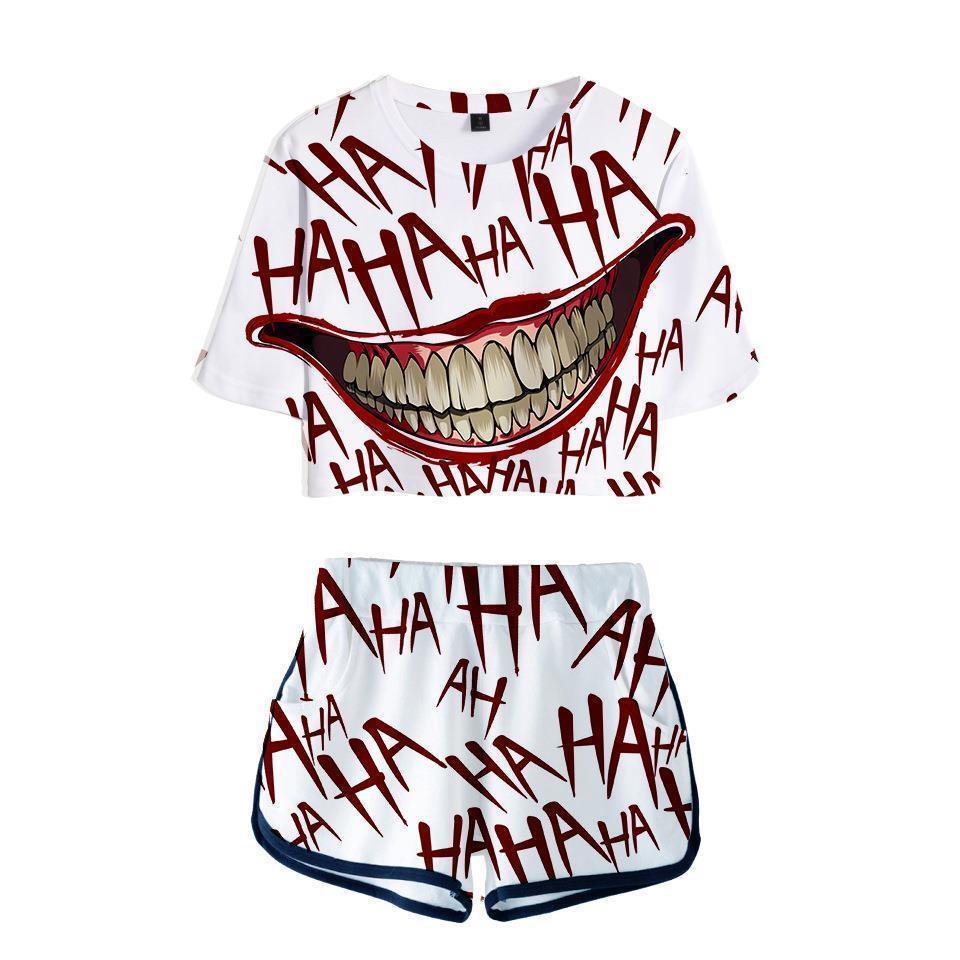 Haha Joker İki Parçalı Kadın Eşofman Seti Yaz Pamuk Baskılı T Gömlek Cadılar Bayramı Çılgın Gülümseme Takım Şort Kırpma Üst Üstleri