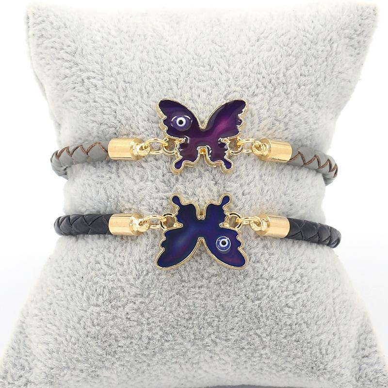 Эмаль бабочка сердца сова бесконечности браслет термохромная температура эмоция чувствительность к изменению цвета кожаные браслеты для женщин детские моды ювелирные изделия