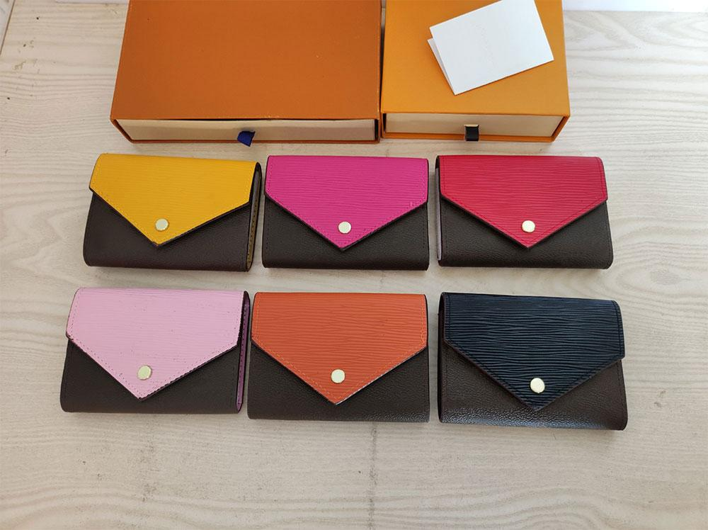 High Quality pu Leather card holder Coin Purses 60492 folding Classic Zip Wallets Fashion Designer mens Holders Letter Womens purse Luxury unisex Wallet 6 colors