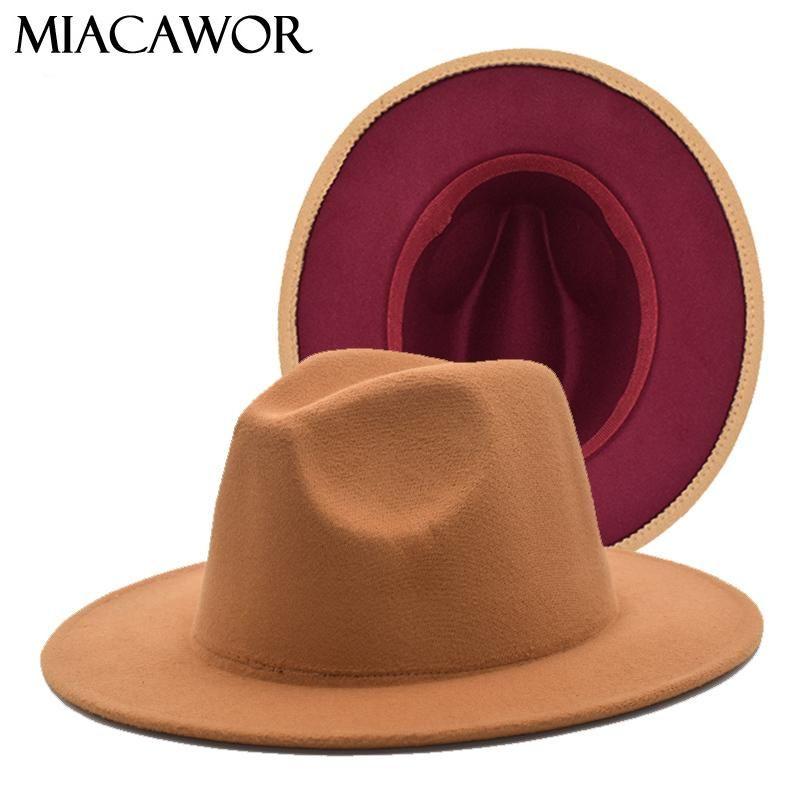 Erkek Bayanlar Siyah Kırmızı Patchwork Yün Keçe Floppy Caz Fedora Geniş Brim Panama Trilby Örgün Şapka F65 Şapka