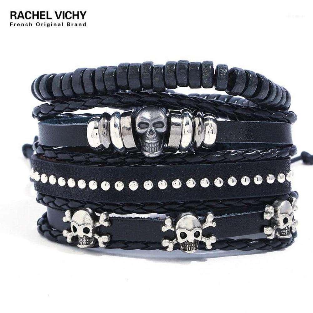 Pulseras de cuero de PU de vintage negro fresco para perlas masculinas Braclet Skull Braslet hombres pulseras hombre tz1331