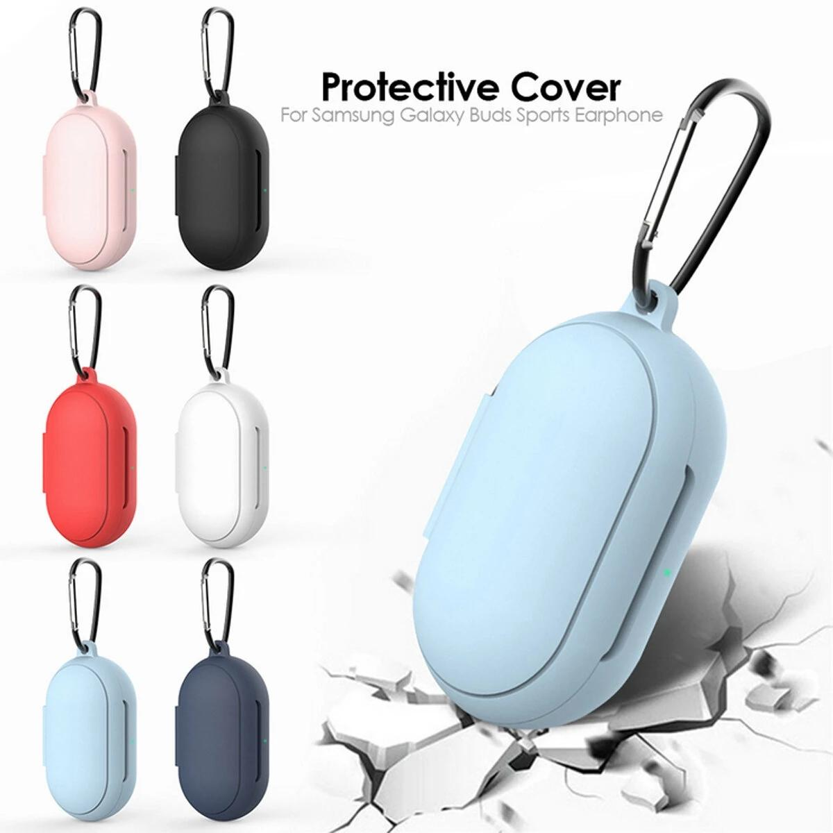 Earphone Silicone Case Keychain Support Wireless Charging Cover TWS Headphone Protective Shell With Anti-lost For Galaxy Buds - Red