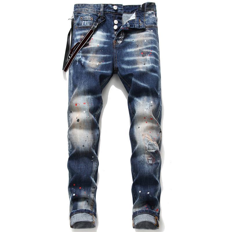 2021 Erkek Tasarımcı Kot Sıkıntılı Yırtık Biker Slim Fit Motosiklet Denim Erkekler için Moda Eşofman Mans Pantolon Yayın Hommes