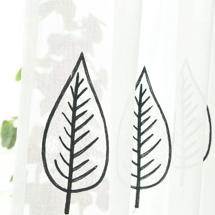 Vorhangdrapes Fenster Screening Vorhänge für Wohn-Esszimmer Schlafzimmer Gestickte Schwarze Seidenblätter Wild-Bildschirme