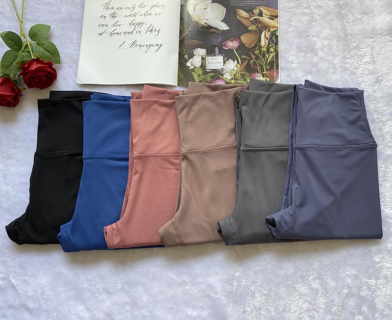 2021 Tissu Lycra Formation complète Pantalons de Yoga Taille Sports High Sports Gym Port Leggings Fitness élastique Dame Pantalons en plein air A-style 28 ''