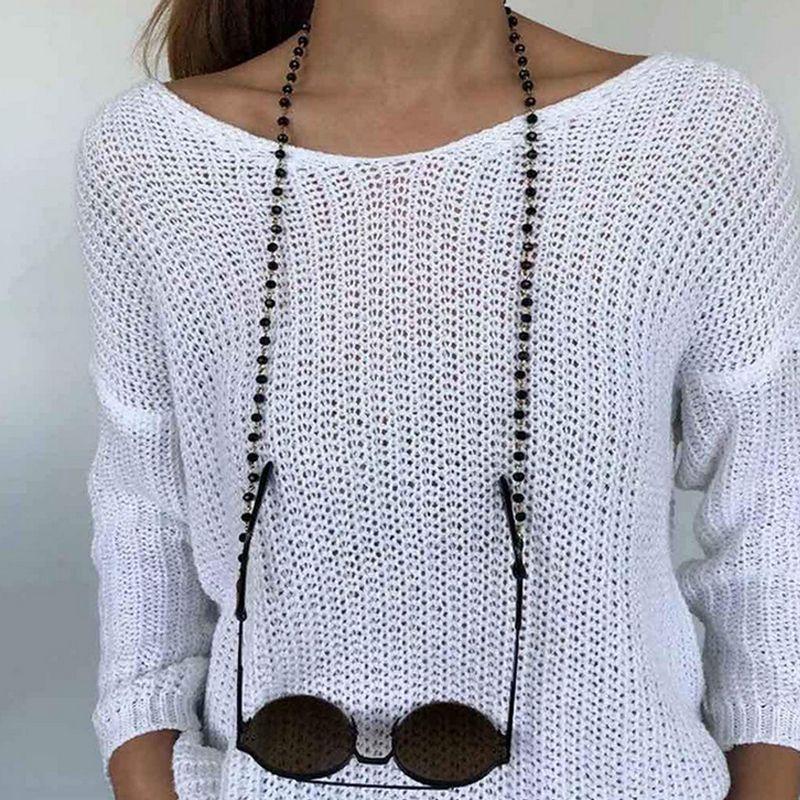 Black Beads Crystal Gafas de sol cadena mujeres niña estilo simple gafas accesorios de moda para fiesta de regalo precio al por mayor