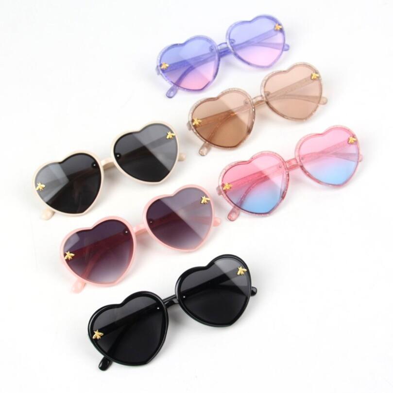 أزياء القلب الاطفال نظارات الأطفال الرجعية لطيف الكرتون النحل الوردي نظارات الشمس الإطار الفتيات الفتيان الطفل النظارات هدية عيد