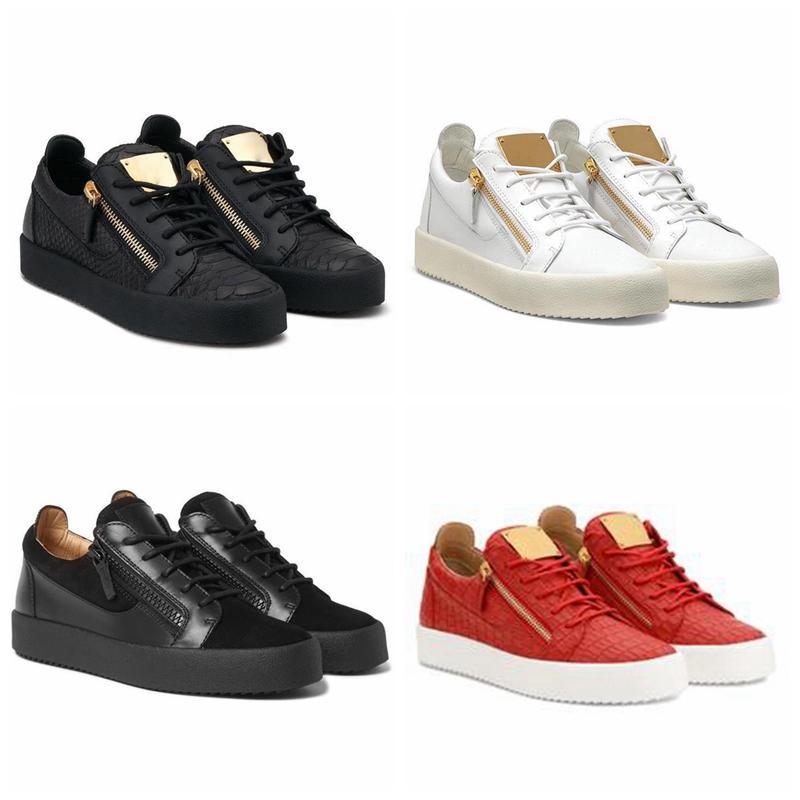 Criança quente Itália Luxe Sapatos Casuais Zipper Mens Mulheres Low Top Flat Sapatos Genuíno Mens de Couro Sapatos Sapatilhas Treinadores