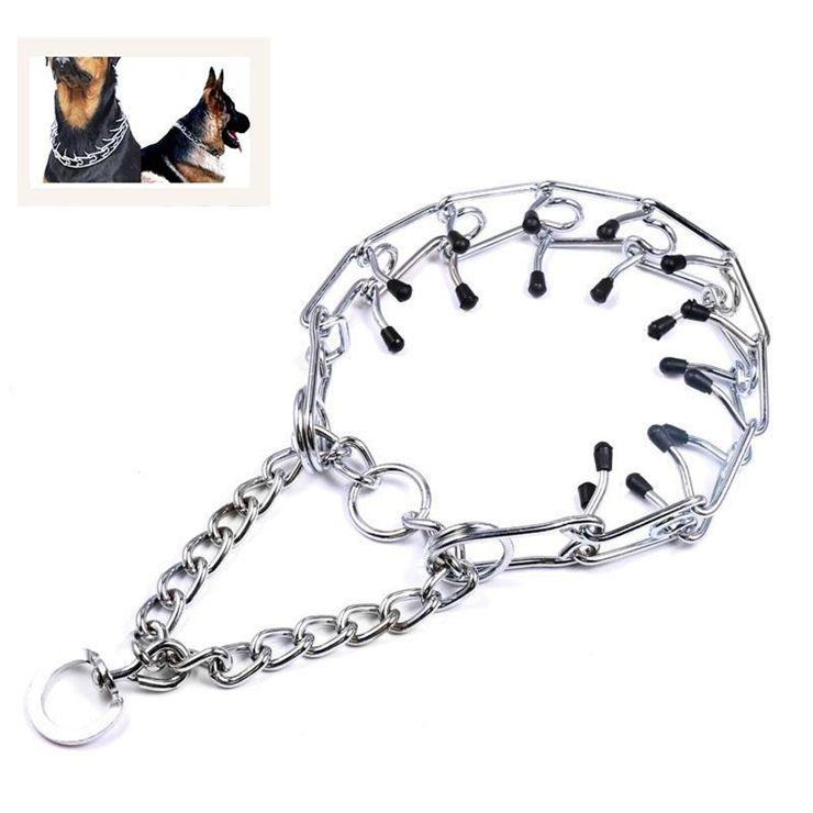 Dog Walking Metal Leash Training Chain Collar Prong Choke Collars With Rubber Tips Pet Supplies R875