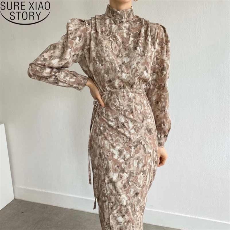 Frühling verschmutzte Tintenblume Vintage Mode Kleider für Frauen Winter Geruch Druckständer Kragen Langes Kleid Robe 12796 210510