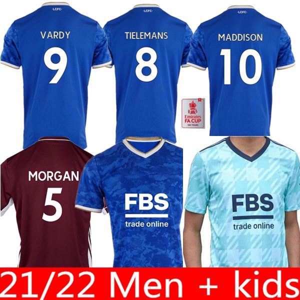 21 22 레스터 축구 유니폼 2021 2022 도시 바드 미디슨 Tielemans Ndidi Camiseta de Fútbol 남자 키트 + 키즈 키트 Maillot 드 축구 셔츠 탑