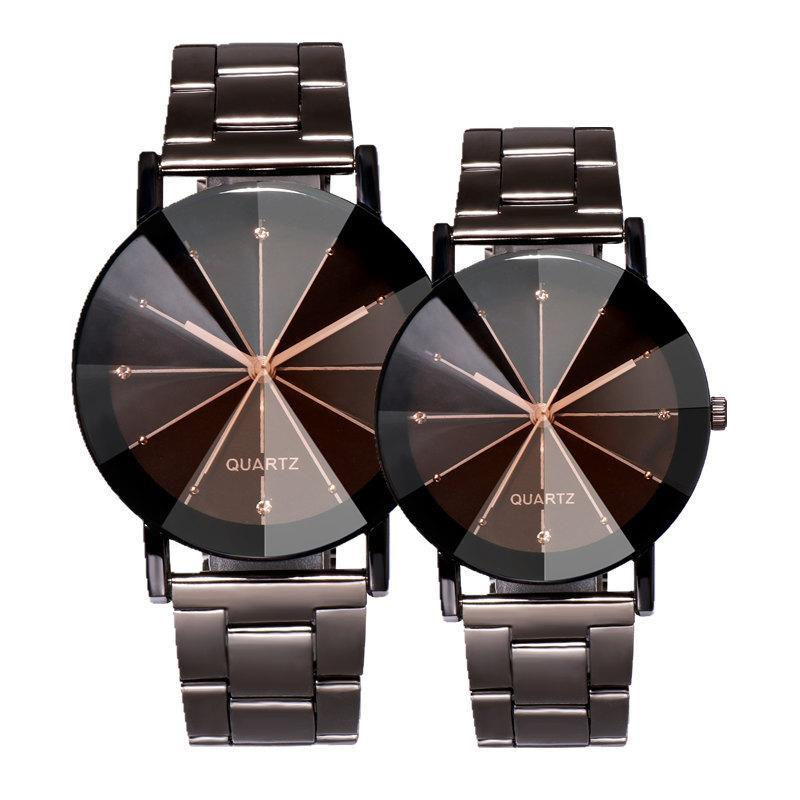 Klasik Tasarım Ray Üst Elmas Alaşımlı Çelik Saatler Kadınlar Için Erkek Severler Çift Elbise Kuvars Toptan Hediye Saat Saatı