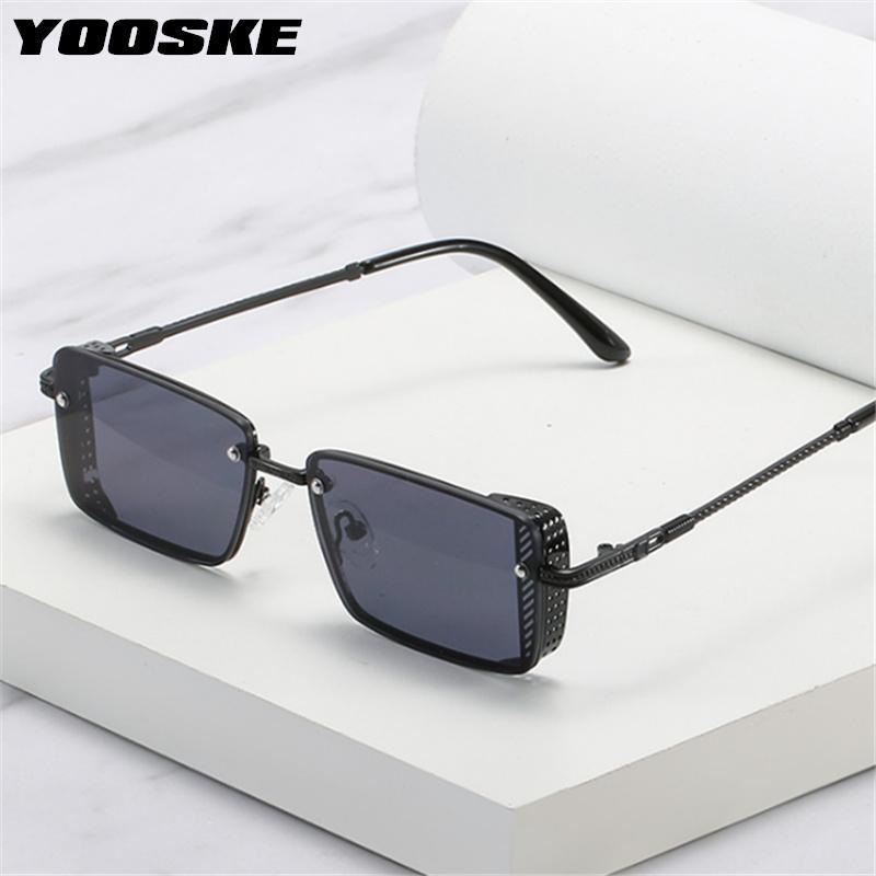 Metal cuadrado punk gafas de sol hombres rectángulo vintage gafas de sol mujeres diseñador moderno damas gafas UV400