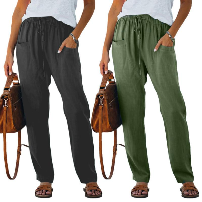 2021 Spring and Autumn pants Solid Color Fashion Loose Pocket Elastic Waist All-match Casual Women