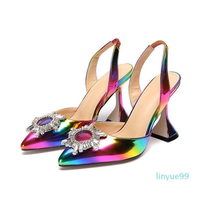 Más nuevo arco iris color Lady Sandals Plus Tamaño Colorido Tacones altos Zapatos de boda Sun Flower Rhinestone Mujer Sandalias para Partido
