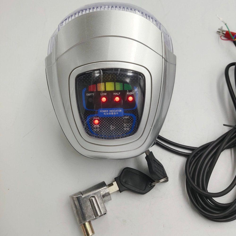 Fronlight Cooterie de vélo électrique Phare de scooter avec corne + commutateur POWER Verrouiller la touche LED LED avec le niveau de la batterie Troycle cyclomoteur