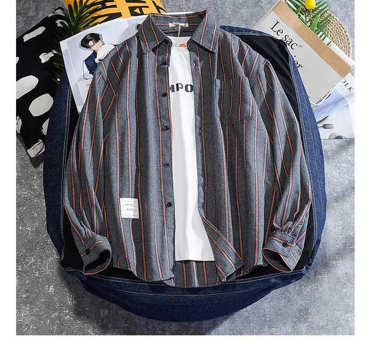 Laamei 남자의 대형 스트라이프 셔츠 남성 패션 코튼 블라우스 오버 사이즈 긴 소매 드레스 셔츠 남성 의류 캐주얼