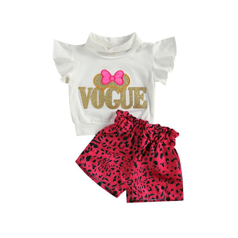 Clothing Sets Children Girls Summer Ruffles Sleeve Letter Print T-shirts Tops+Elastic Leopard Shorts Holiday Casual Outfits