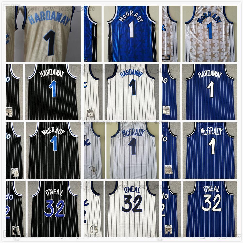 Retro cosido jersey de alta calidad para hombre negro azul # 1 # 32 Jerseys Tamaño S M L XL XXL