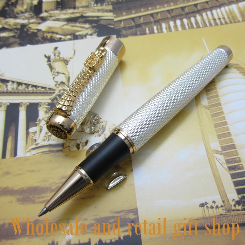 Promozione all'ingrosso Jinhao H200 Noblest Silver Carver Dragon Pen in metallo regalo a rulli con penne a sfera della scatola