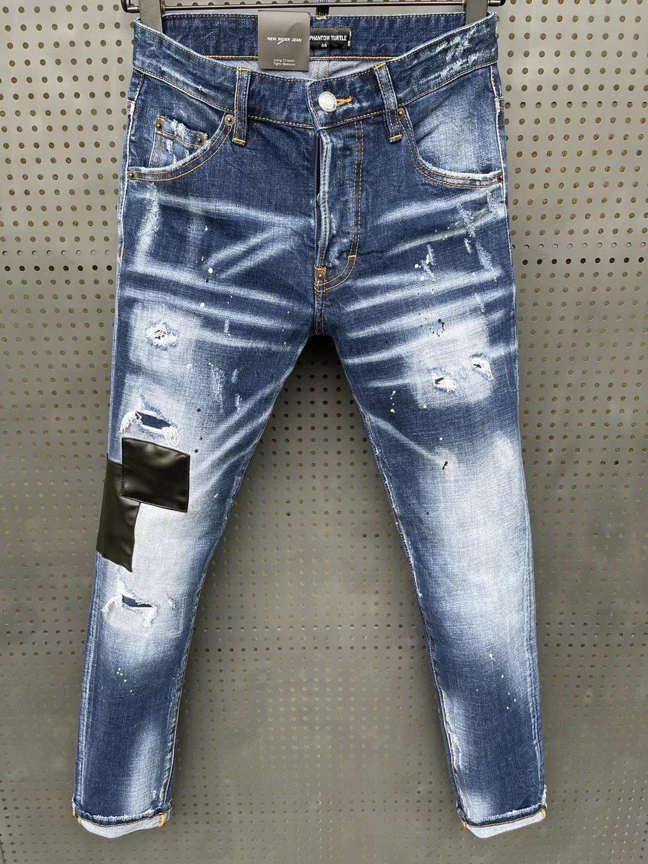 DSQ Phantom Tortue Classic Fashion Homme Jeans Hip Hop Rock Moto Mens Décontracté Design Décontracté Décontracté Jeans en détresse Skinny Denim Biker DSQ Jeans 6160