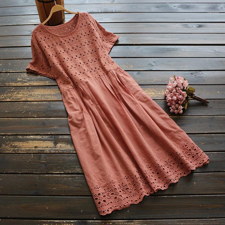 6294 Nuova estate Dress da donna Giappone Style Style Style Mise a manica corta O-Neck Dress Cotton Solid Color Midi Dresses1