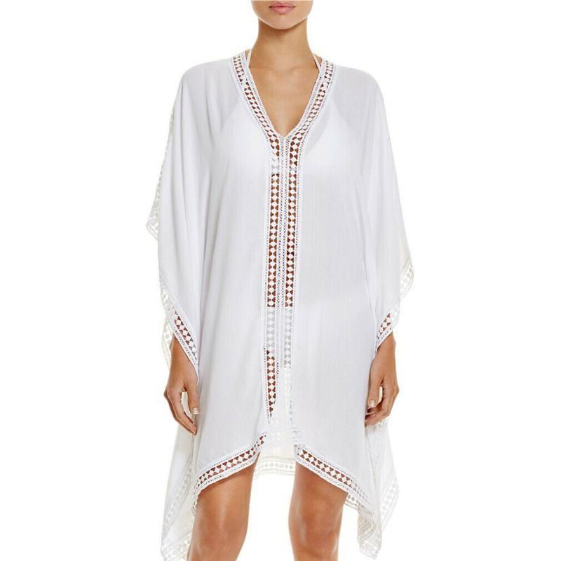 Beachwear da donna Moda Bianco Beach Dress Beach Solid Color Lace Sexy Prospettiva Bikini Cover-up Costumi da bagno
