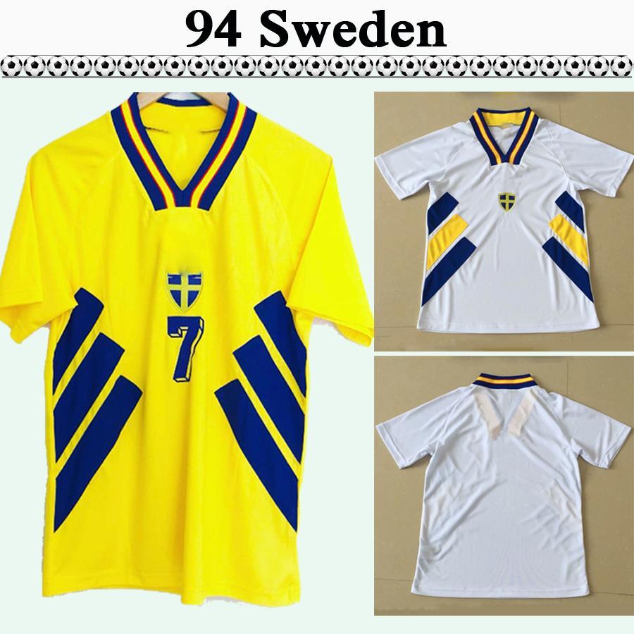 1994 Larsson ingeson Hommes Soccer Jerseys Équipe nationale rétro Suède Dahlin Bolin Football Shirts Accueil Yellow Away Blanc Uniformes adultes