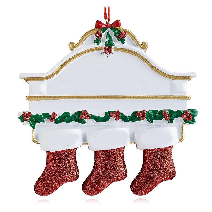 Resin Personalized Stocking Socks Family Of 2 3 4 5 6 7 8 Christmas Tree Ornament Creative Decorations Pendants OWE9738