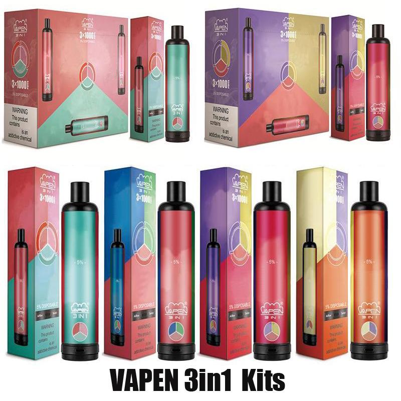 Authentic Vapen 3in1 monouso Vape Pen 3000 Blows e sigarette Kit 3 in 1 vaporizzatore vaporizzatore 1400mah batteria pre-riempita 3 * 3.2ml POD AirFlow System Stick Vapor 100% originale