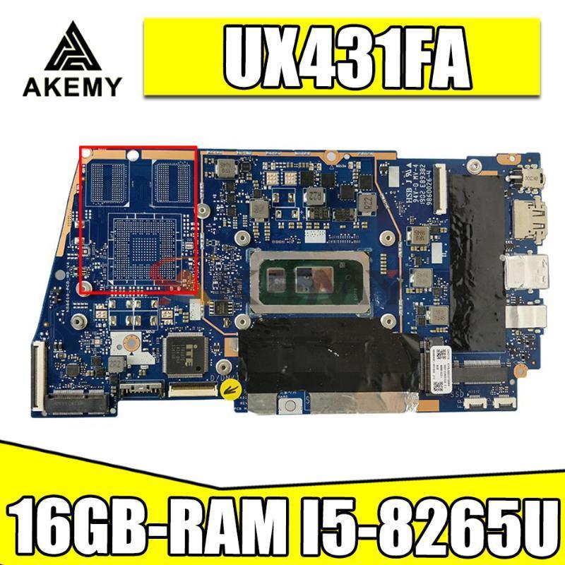 Motherboards UX431FA/FN Laptop Motherboard For ASUS ZenBook-14 UX431FA UX431FN UX431F Original Mainboard 16GB-RAM -8265U GM