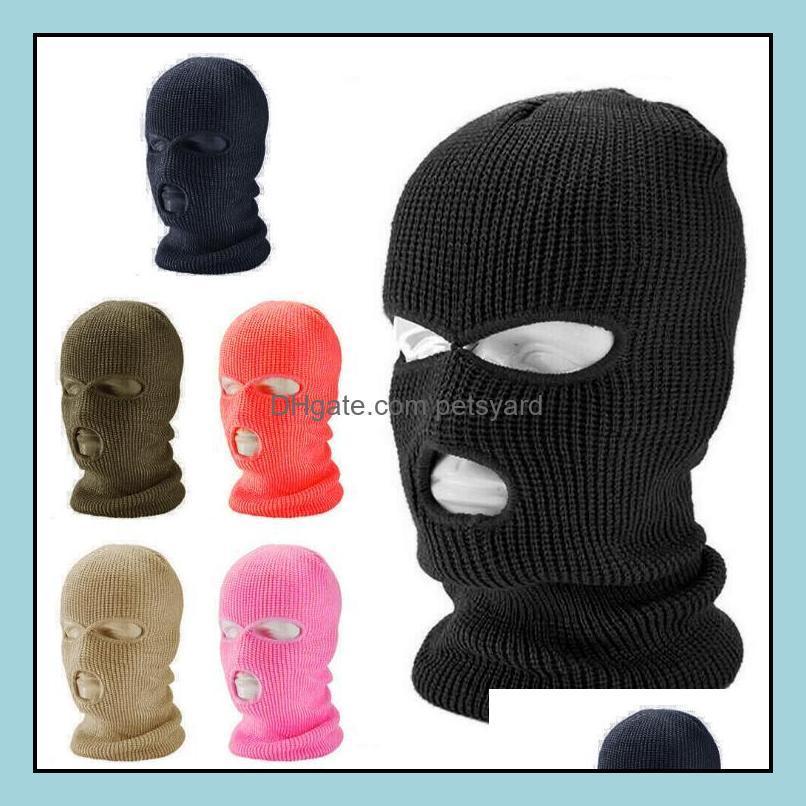 Caps Masks Protective Gear Cycling Sports & Outdoors3 Hole Ski Winter Cap Balaclava Hood Motorbike Motorcycle Fl Face Helmet Army Tactical M