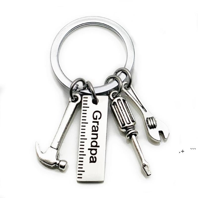 Vatertag Edelstahl Keychain Cartoon Key Ring Papa Papa Grandpa Hammer Schraubendreher Schraubenschlüssel Maller Dad's Werkzeuge Geschenk FWB6585