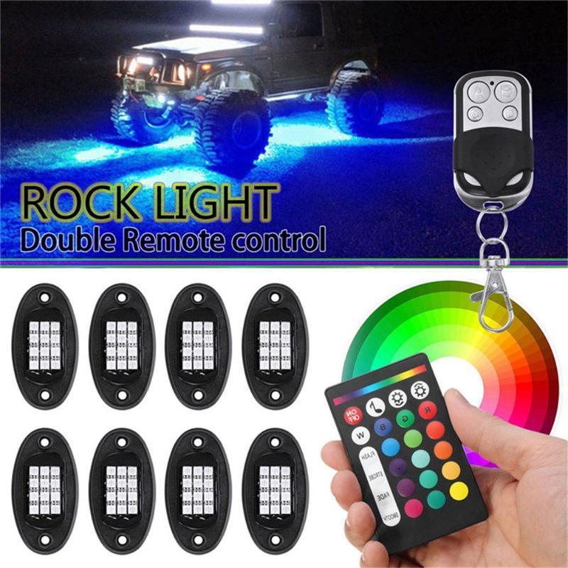 Bluetooth RGB LED Ambient Lamp Rock Light Off Road Lights IP68 Waterproof Automotive Interior Decorative For Car Interior&External