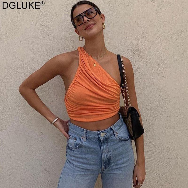 One Beewange Top Women Sexy без рукавов Ruched танк лето белый черный синий оранжевый равнинные короткими резервуарами Camis женщин