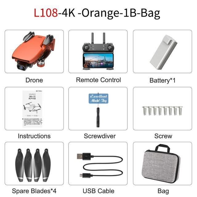 L108 DRONE, 4K HD ELECTRISCHE JACE ESC Dual-Kamera, Simulatoren, 5G Wifi, bürstenloser Motor, GPS Optische Flusspositionierung, 32 Minuten lang Flugzeit, 2-1