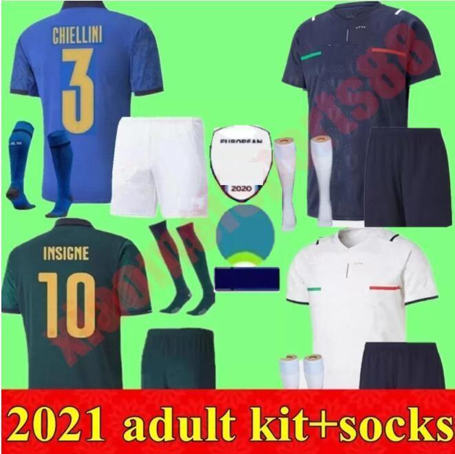 Italia Soccer Jersey 2021 Kit adulti Barella Shaarawy Bonucci Sensi Insigne 21 22 Rinascimento Chiellini Bernardeschi Camicie da calcio Uomo Kit Uniformi
