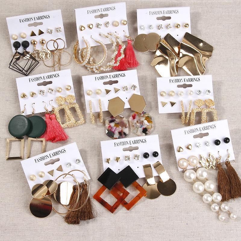 Charm Ladys orecchini geometrici metallo in metallo acrilico foglio pennino bit set decorazione donne e ragazza regalo stile diverso stile moda nappa orecchino molti colori