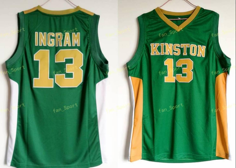 Kinston 고등학교 Brandon 13 Ingram Jersey 남자 스포츠 팬들을위한 녹색 Ingram 농구 유니폼 통기성 균일 한 도매 최저 가격