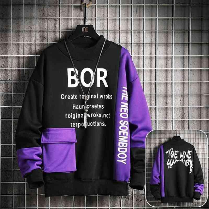 Sweat-shirt occasionnel Men Streetwear Sweats à capuche à capuche Lettre d'impression Mens Patchwork Sweatshirts Sweatshirts Homme Couleur O-Cou Top Pullsuit 210728